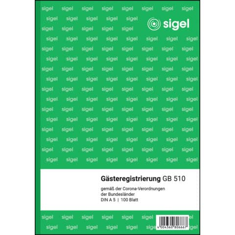 Formularbuch Gästeregistrierung grün SIGEL GB510 Produktbild