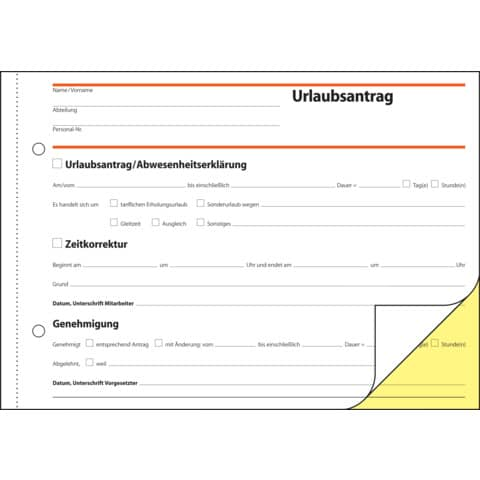 Urlaubsantrag A5/2x40BL SIGEL SD045 Produktbild Detaildarstellung 2 XL
