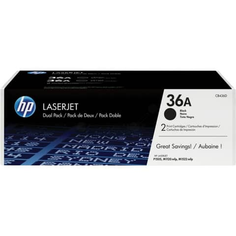 Lasertoner Nr. 36A schwarz HP CB436AD 2ST Produktbild