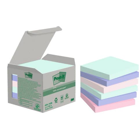 Haftnotizblock 76x76mm pastell Rain POST-IT 6541GB UWF 100Bl 6St Produktbild