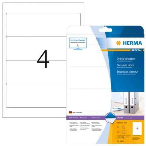 Ordneretikett 61x192mm weiß HERMA 5095 25BL 100ST Produktbild Einzelbild 3 XL