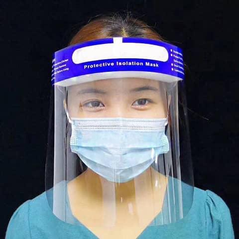 Gesichtsschutzschild  transparent BF004 Höhe 22cm Produktbild Anwendungsdarstellung XL
