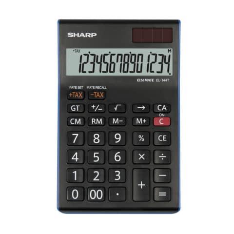 Tischrechner 12stellig 96,5x155x24,5mm SHARP EL124TWH/SH-EL144TBL sw Produktbild Einzelbild 1 XL