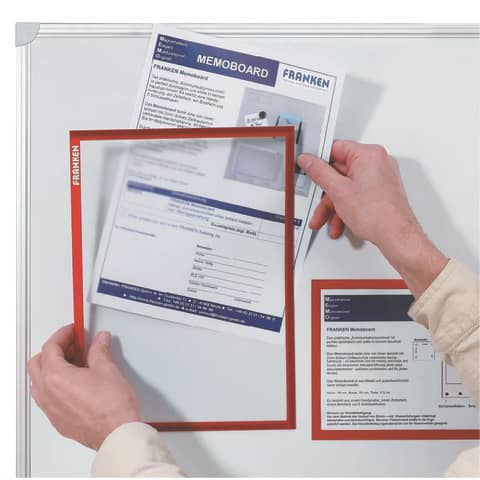 Prospekttasche A3 rot FRANKEN ITSA3M01 magnetisch Produktbild Anwendungsdarstellung XL