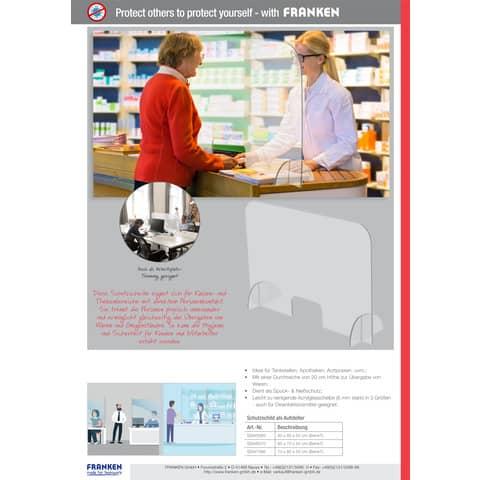 Tröpfchenschutzscheibe transparent FRANKEN SSW5085 BxH 50x85cm Produktbild Produktdatenblatt XL
