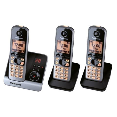 Telefon schnurlos schw/tit PANASONIC KX-TG6723GB 3Mobilte Produktbild