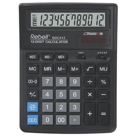 Tischrechner schwarz REBELL RE-BDC412BX Solar/Batterie Produktbild