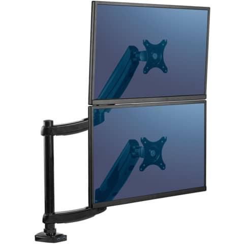 Bildschirmträger Doppelarm schwarz FELLOWES FW8043401 Produktbild Anwendungsdarstellung 2 XL