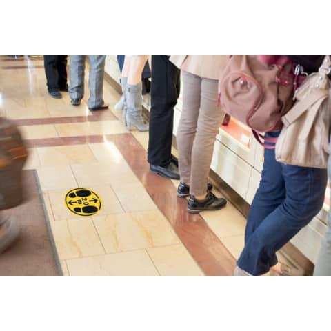 Bodenaufkleber DM 35cm gelb-schwarz 2,0m 2 St. für glatte Böden TARIFOLD T197857 Produktbild Anwendungsdarstellung 1 XL
