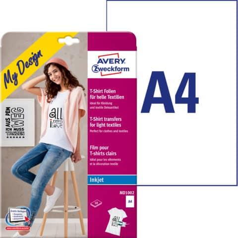Inkjet Transferfolie A4 10 Blatt ZWECKFORM MD1002 für helle Textilien Produktbild Einzelbild 2 XL