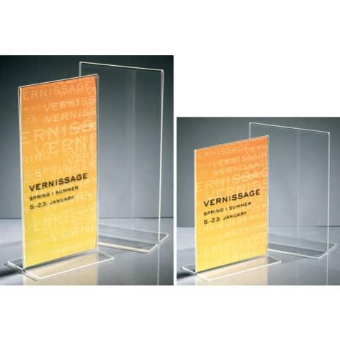 Tischaufsteller DIN lang glaskar Acryl SIGEL TA224 gerade Standfüße Produktbild Stammartikelabbildung XL