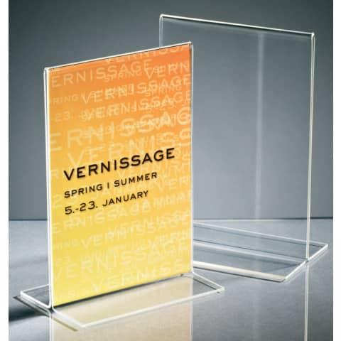 Tischaufsteller A6 hoch glasklar Acryl SIGEL TA226 gerade Standfüße Produktbild