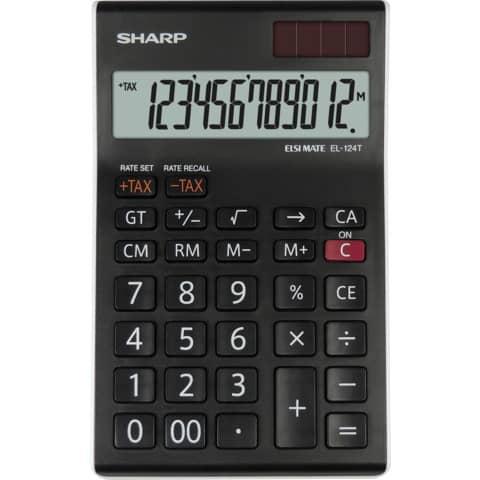 Tischrechner 12stellig 96,5x155x24,5mm SHARP EL124TWH/SH-EL144TBL sw Produktbild