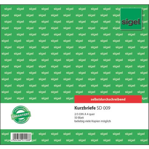 Kurzbrief 2/3 A4, 50 Blatt SIGEL SD009 selbstdurchschreibend Produktbild Einzelbild 1 XL