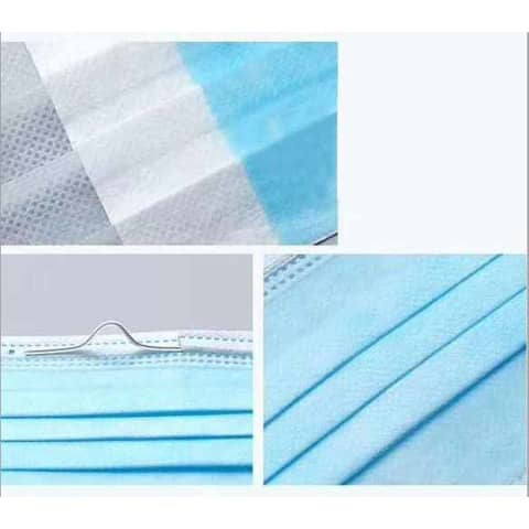 Gesichtsmaske 3lagig weiß-blau 5 26 02 00/271795003 Universalgröße Typ1 Produktbild Detaildarstellung XL