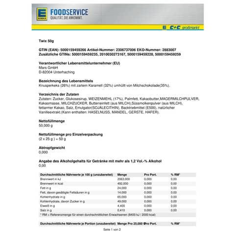 Twix Riegel 50 g Mars 2306737006 Produktbild Lebensmittelinformation XL
