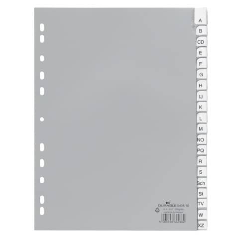 Register Plastik A-Z A4 20tlg. grau DURABLE 6401 10 umschweißte Taben Produktbild