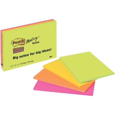 Haftnotizblock 149x98.4 Neonfarben POST IT 6445-SSP 45 Blatt 4 Stück Produktbild