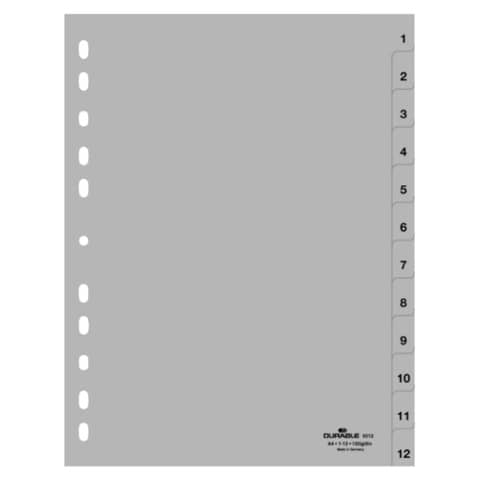 Register 1-12 grau A4 DURABLE 6512 10 geprägte Taben Produktbild