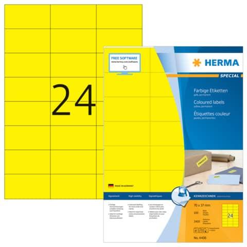 Universaletiketten 70x37 gelb HERMA 4406 100 Blatt Produktbild Einzelbild 2 XL