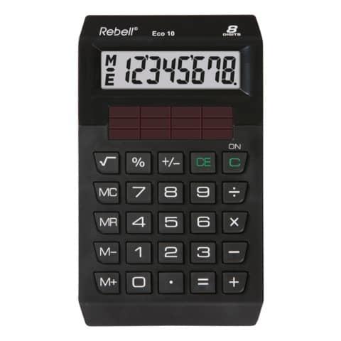 Öko-Taschenrechner Eco10 schw. REBELL 802358 8stellig 118x70x13mm Produktbild Einzelbild 1 XL