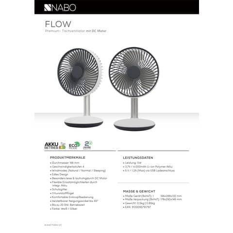 Ventilator Akku 16,6 ws/silb NABO FLOW 500178 Produktbild Produktdatenblatt XL