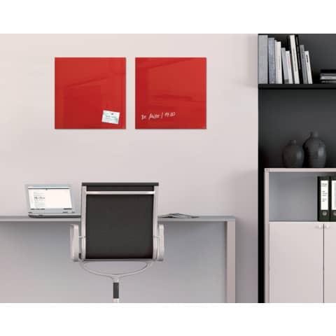 Magnettafel Glas rot SIGEL GL114 480x480x15mm Produktbild Produktabbildung aufbereitet 3 XL