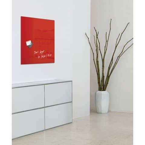 Magnettafel Glas rot SIGEL GL114 480x480x15mm Produktbild Produktabbildung aufbereitet XL