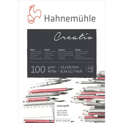 100 Blatt 0,12€//Blatt Skizzenblock Creativ A3 100g//m² weißes Zeichenpapier