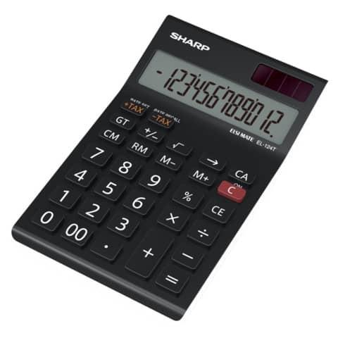 Tischrechner 12stellig 96,5x155x24,5mm SHARP EL124TWH/SH-EL144TBL sw Produktbild Einzelbild 2 XL