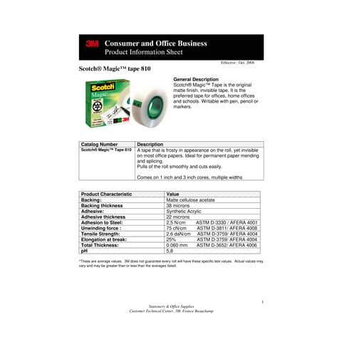 Klebefilm 19mmx33m unsichtbar SCOTCH M8101933 Magic Produktbild Produktdatenblatt 1 XL