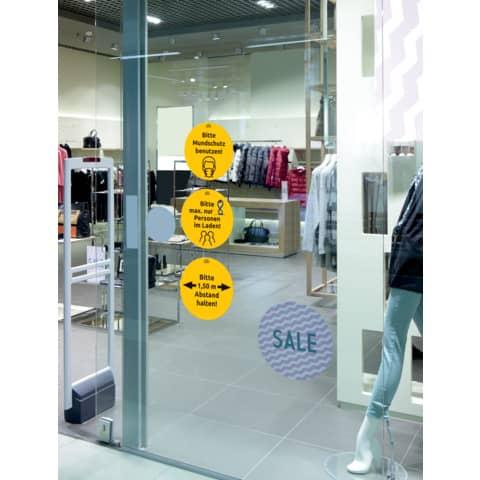 Hinweisetiketten Corona Schilderset gelb AVERY ZWECKFORM 49400 12ST Produktbild Anwendungsdarstellung 2 XL