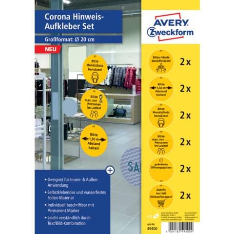 Hinweisetiketten Corona Schilderset gelb AVERY ZWECKFORM 49400 12ST Produktbild
