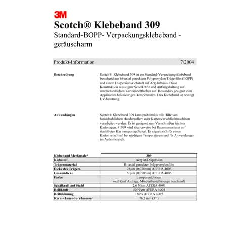 Verpackungsband 50mm 66m braun SCOTCH 309B5066 PP Produktbild Produktdatenblatt 1 XL