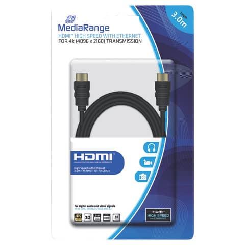 HDMI-Kabel High Speed 4K 3.0m schwarz MEDIARANGE MRCS157 Produktbild