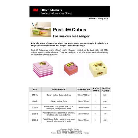 Haftnotizblock Würfel neonpink POST IT 2028NP 76x76mm 450Bl Produktbild Produktdatenblatt 1 XL
