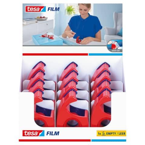 Handabroller 19mm 10m rot/blau TESA 57443-00001-00 leer Easy Cut Produktbild