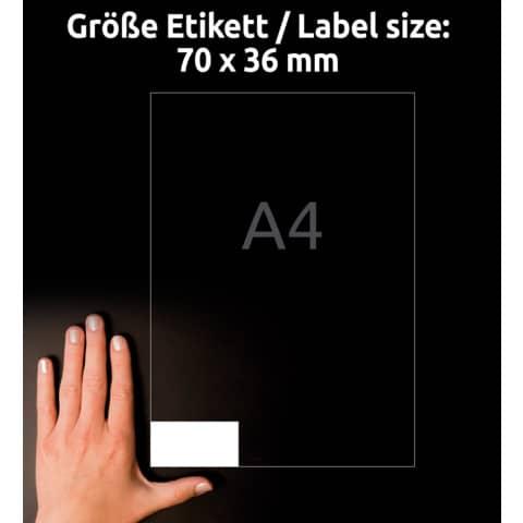 Universaletiketten 70x36 weiß AVERY ZWECKFORM 6122 Produktbild Detaildarstellung 6 XL