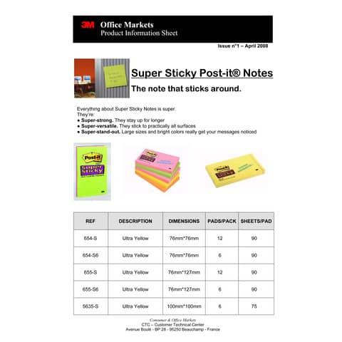 Haftnotizblock 76x76mm Ultrafarben POST-IT 654-12SSU 90Bl 12St Produktbild Produktdatenblatt 1 XL