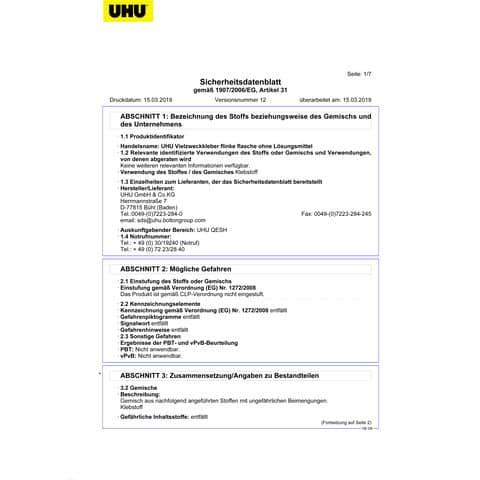 Flinke Flasche 850g UHU 46325 Nachfüllun Produktbild Sicherheitsdatenblatt XL