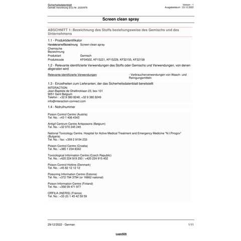 Reinigungsset Computer Q-CONNECT KF32155A Produktbild Sicherheitsdatenblatt XL
