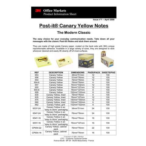 Haftnotizblock 38x51mm gelb POST IT 653 Produktbild Produktdatenblatt 1 XL