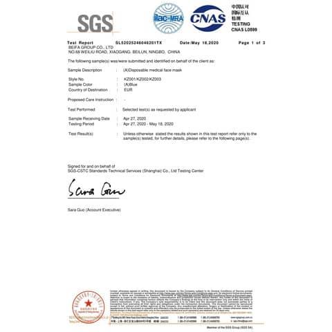 Mund- und Nasenschutzmaske  blau/weiß VANCH KZ001 BFE95% EN14683 Produktbild Produktdatenblatt XL