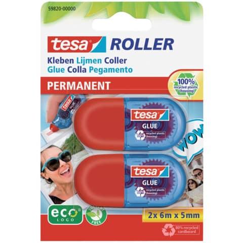 Kleberoller 2 Stück Mini rot/blau TESA 59820-00000-00 6m x 5mm Produktbild