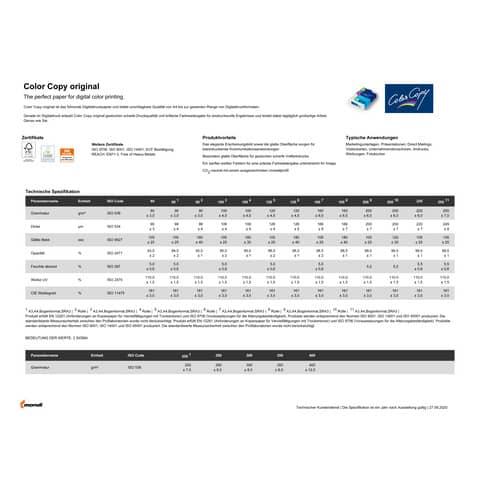 Kopierpapier A4 120g weiß MONDI Color Copy Produktbild Produktdatenblatt XL