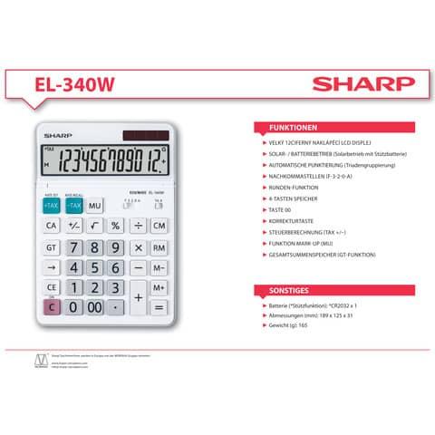 Tischrechner 12-stellig weiß SHARP SH-EL340W DualPower Produktbild Produktdatenblatt XL