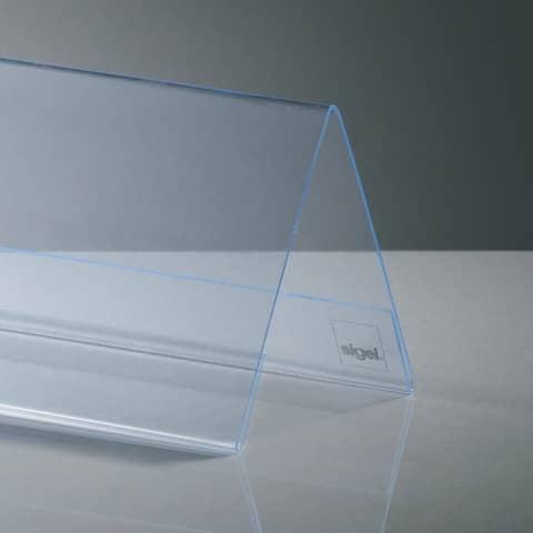 Tischaufsteller 24x9 cm glasklar 5 Stück SIGEL TA130 inkl. Einsteckkarten Produktbild Detaildarstellung XL