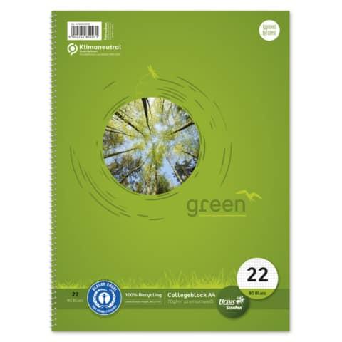 Collegeblock A4 80Bl. kariert URSUS green 608570020 Recycling 70g Produktbild