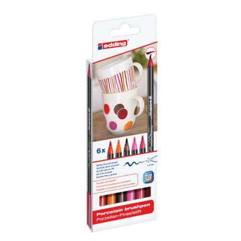 Porzellanmalstift Brushpen 6St EDDING 4200-6999 Warm Produktbild Einzelbild 1 XL
