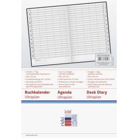 Buchkalender Ultraplan sw 19x27,5cm RIDO 702200290 immerwährend 1T 1 Produktbild Einzelbild 4 XL